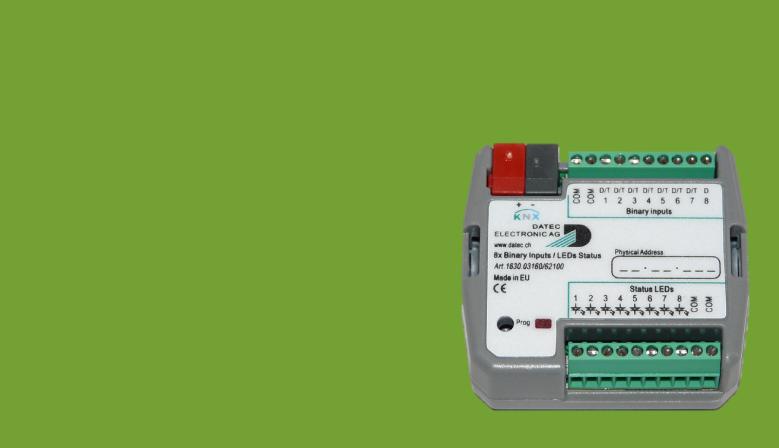 Flush mounted 8 binary inputs KNX module